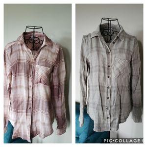 Pair of Kismet plaid button down shirts
